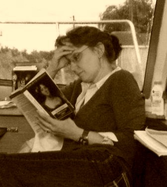 Me reading a book in sepia