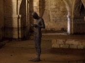 Antony Gormley sculpture in the crypt at Winchester Cathedral