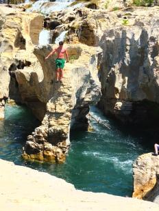 He did it. He jumped from that rock shelf at the Cascade du Sautadet